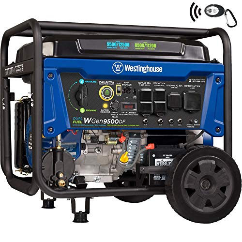 Westinghouse WGen9500DF Dual Fuel Generator-9500 Rated 12500 Peak Watts-Gas or Propane Powered-Electric Start Portable Generator, Blue Westinghouse