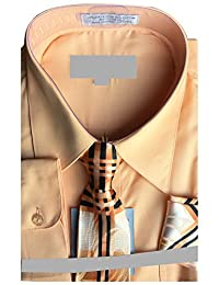 Sunrise Outlet Boy's Basic Dress Shirt with a Varying Tie and Hanky Set