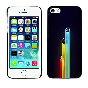 KOKO CASE / Apple Iphone 5 / 5S / juegos de ordenador personajes de neón retro de dibujo / Delgado Negro Plástico caso cubierta Shell Armor Funda Case Cover