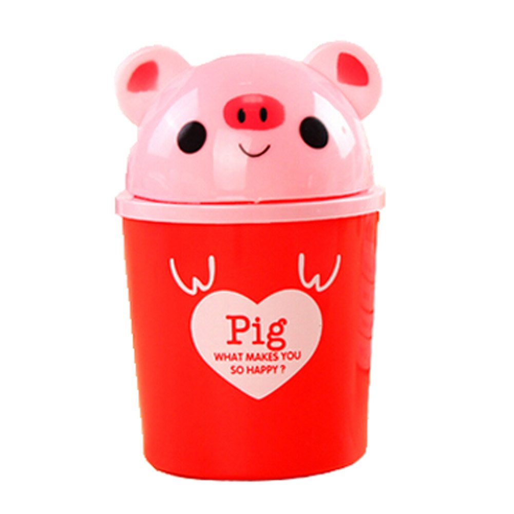 Set of 3 Red Pig Pattern Desktop Trash Mini Cartoon Plastic Storage Barrel PANDA SUPERSTORE PS-HOM3744641-ALIEN00065
