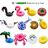 Xplanet Inflatable Drink Holders 12 Pack Unicorn Floats Inflatable Cup Coasters Holders for Summer Pool Party and Kids Water Fun Bath Toys (Mermaid, Swan, Flamingo, Crab, Pineapple)