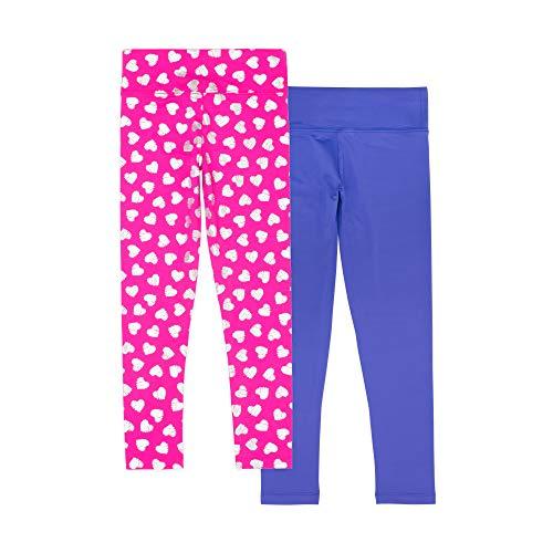 (Lucky & Me Madisyn Girls Athletic Leggings, 2-Pack, Tagless, Full Length, Gymnastics & Dancewear, Wide Waistband, Heart Pink, 9/10)