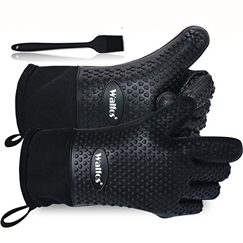 Walfos BBQ Grilling Gloves, Best Versatile Heat Resistant Grill Gloves Silicone Oven Mitts, Thick Long Waterproof Non-Slip Potholder for Barbecue, Cooking, Baking-Full Finger, Hand, Wrist Protection by Walfos