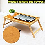 Bamboo Laptop Desk Serving Bed Tray Breakfast Table in Bed or Use As a TV Table, Laptop Computer Tray, Snack Tray with Natural Bamboo