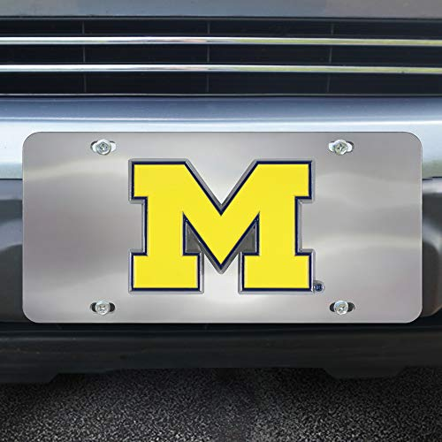 (Fanmats NCAA Michigan Wolverines Die Cast License Platedie Cast License Plate, Chrome, 6