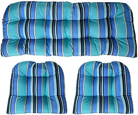 RSH Decor Sunbrella Dolce Oasis Large 3 Piece Wicker Cushion Set – Indoor Outdoor Wicker Loveseat Settee 2 Matching Chair Cushions – Blue, Turquoise White Stripe