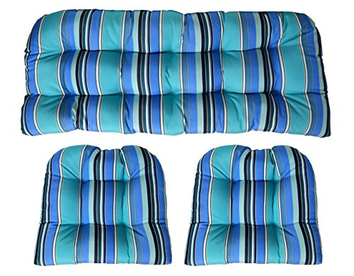 RSH DECOR Sunbrella Dolce Oasis 3 Piece Wicker Cushion Set - Indoor/Outdoor Wicker Loveseat Settee & 2 Matching Chair Cushions - Blue, Turquoise & White Stripe ()