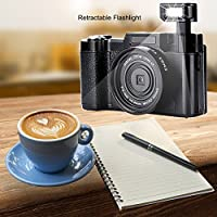Digital Camera Camcorder Full HD Video Camera 1080p 24.0MP 3.0 Inch 180 Degree Rotatable Screen with Camera Bag and Retractable Flashlight … by SUNLEA