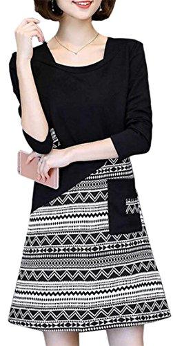 Jaycargogo Encolure Ras Du Cou Pour Femmes Manches Longues Vintage Ajustement Floral Mince Robes Noires