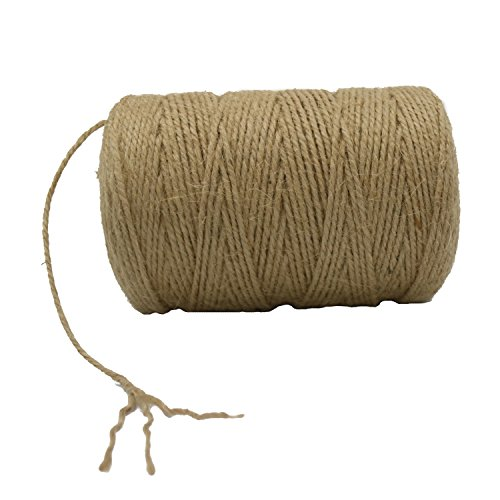 Jute Twine String Natural Ball 984ft / 2mm for Craft Gardening Mason Home Lights Wine Presents Strings Twines Cores Durable for Packing Wrapping Ribbon Christmas Wedding Gift by XuanHuZhe
