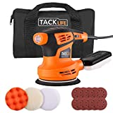 TACKLIFE 5-Inch Random Orbit Sander, 6 Variable Speeds Sander Machine, 10Pcs Sandpapers and 3 Pcs Polishing Kit, Electric Sander with Efficient Dust Collection Box for Sanding and Polishing PRS02A
