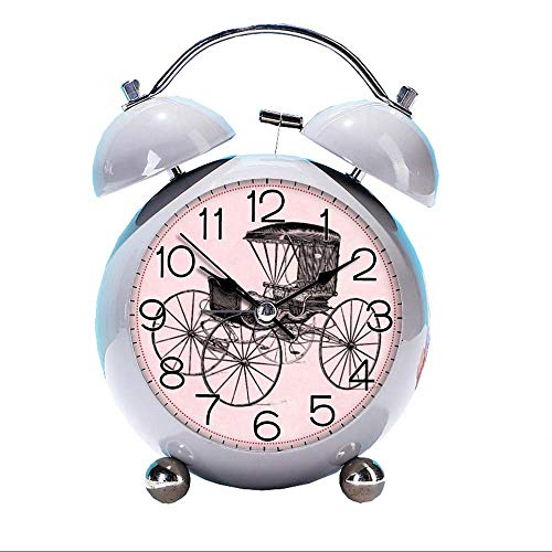 (GIRLSIGHT Cute Color Alarm Clock, Round Horse Desk Clock with Night Light Vintage 1800s Carriage Horse-Drawn Antique Buggy Bedroom Decorations(Grey))