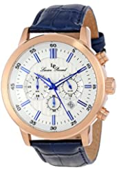 Lucien Piccard Men's 12011-RG-023S Monte Viso White Textured Dial Watch with Blue Leather Band