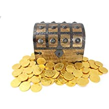 """WellPackBox Wooden Pirate Treasure Chest 1lb Gold Chocolate Coins (Large 8"""" x 6"""" x 6"""")"""