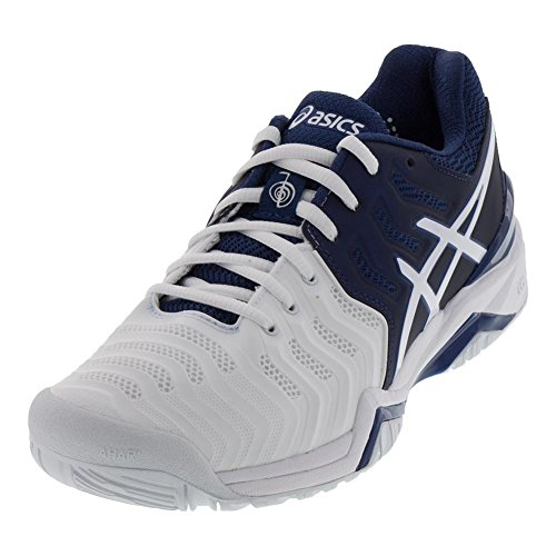 ASICS Gel Resolution 7 Novak Djokovic Men's Tennis Shoes Navy/White/Silver (10.5)