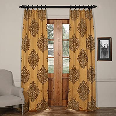 HPD HALF PRICE DRAPES JQCH-20160702-108 Ellaria Faux Silk Jacquard Curtain, 50 X 108, Olympic Bronze - Sold per panel 100% polyester | lined 3'' Pole pocket with hook belt - living-room-soft-furnishings, living-room, draperies-curtains-shades - 51H9ZI7XqRL. SS400  -