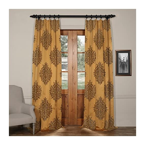 JQCH-20160702-108 Ellaria Faux Silk Jacquard Curtain,Olympic Bronze,50 X 108 - Sold per panel 100% polyester | lined 3'' Pole pocket with hook belt - living-room-soft-furnishings, living-room, draperies-curtains-shades - 51H9ZI7XqRL. SS570  -