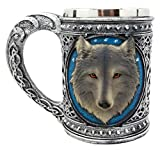 Atlantic Collectibles Large Celtic Blue Alpha Gray Wolf Mug With Stainless Steel Rim Resin Figurine 18oz