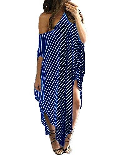 ZANZEA Women's One Off Shoulder Striped Irregular Long Maxi Dress Kaftan Dress Royal Blue M