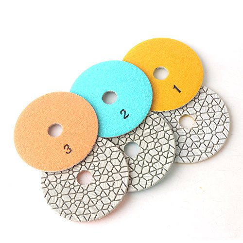 Super flexible 4 inch 3step diamond polishing pads 100mm for granite,marble and engineered stone