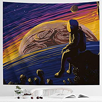 IcosaMro Space Tapestry, Astronaut Men Wall Decor, Stars Planets Mars Earth Wall Hanging Art for Bedroom Living Room College Dorm (51x60, Hemmed Edges)