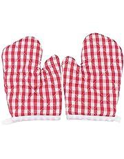 Yardwe 2 Pairs Hittebestendige Ovenwanten Kleine Keuken Ovenwanten Antislip Kids Bakken Handschoenen Voor Thuis Keuken (Roze)