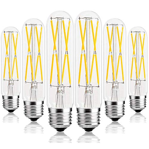 Leools 8W Dimmable Edison Led Tubular Bulb T10/T30,E26 Medium Base Lamp 75 Watt Incandescent Bulb Equivalent 2700K Neat Warm White, 6-Pack