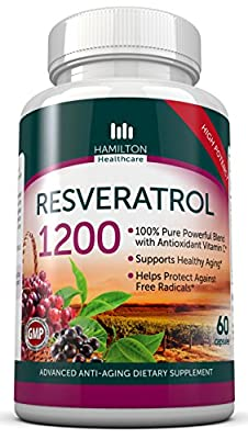 Resveratrol Maximum Strength 1200mg with Green Tea, Acai, Grape Seed Extract, and Antioxidant Vitamin C - 60 Veggie Capsules By Hamilton Healthcare