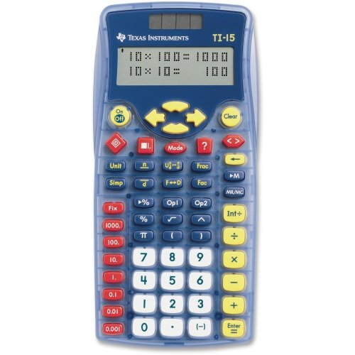 Texas Instruments TI-15 Explorer Elementary Calculator - 2 Line(s) - 11 Character(s) - Battery/Solar Powered - 6.9quot; x 3.5quot; x 0.7quot; - Blue