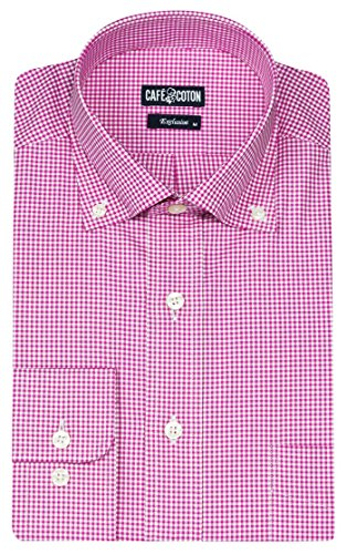 cafe-coton-mens-exclusive-vichy-twill-24-11nbls-dress-shirt-pink-large-classic-exclusive-button-down