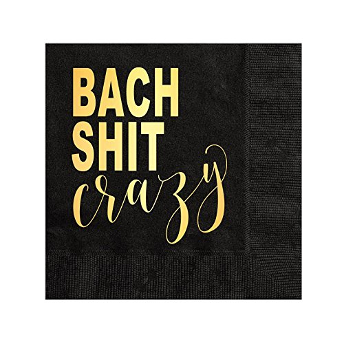 Bach Shit Crazy Gold Foil Napkins Funny Bachelorette Party Decorations Bachelorette Party Decor Gold Foil Bach Shit Set of 25 Fun Bachelorette Party Napkins White Rabbits Design