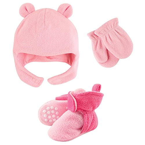 - Luvable Friends Fleece Winter Hat, Mittens and Booties Set, Pink and Dark Pink, 4T