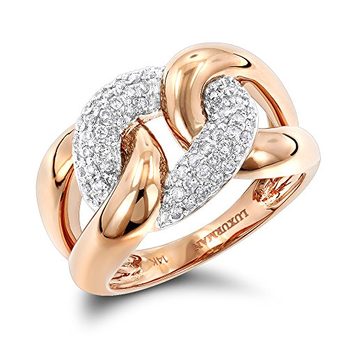 Diamond Love Knot Eternity Ring (Luxurman Ladies Cocktail Love Knot Cuban Link Natural Diamond Ring For Women (Rose Gold Size 7))