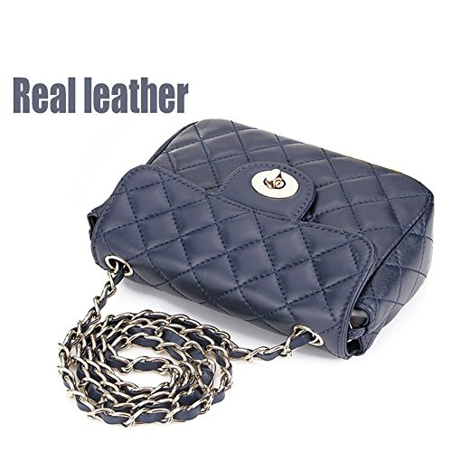 Cross body bag for women leather quilted handbags patent little cute purse with chain strap (Small Navy blue)