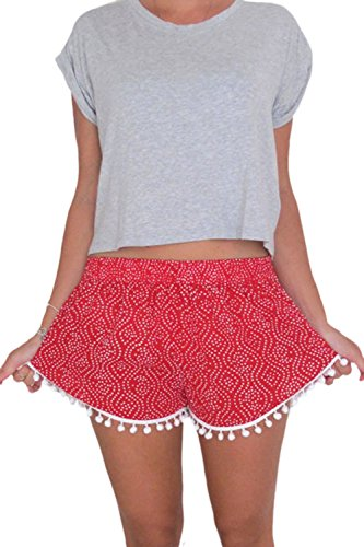 Le Donne Estate Casual Polka Dot Angosciato Tassles Hot Shorts Beachwear Rosso
