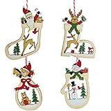 Christmas Direct - Set di decorazioni in legno per albero di Natale, 3 pezzi