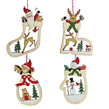 Set of Four Wooden Christmas Tree Decorations - Set Of Four Wooden Christmas Tree Decorations: Amazon.co.uk: Kitchen