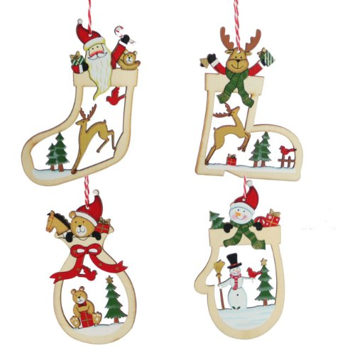 set of four wooden christmas tree decorations amazoncouk kitchen home - Wooden Christmas Decorations