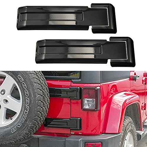 - MOEBULB Tailgate Hinge Cover Spare Tire Rear Door Liftgate Trim for 2007-2017 Jeep Wrangler JK & Unlimited (Black,2-Pack)