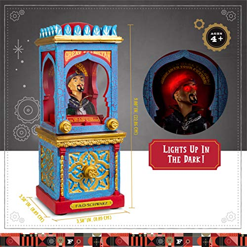 FAO Schwarz Zoltan The Fortune Teller Vintage Carnival-Style Fortune Telling Machine, Button-Activated Talking Fortunes with LED Light & Animation; Classic Retro Design in Blue/Red/Gold by FAO Schwarz (Image #5)