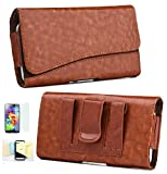 Samsung Galaxy S6 Horizontal PU Leather Case Pouch Holster with Magnetic Closure Belt Clip,Belt Loops Momiji [Screen Guard] Protector, Cleaning Cloth (Brown)