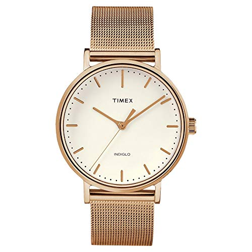 Timex Women's Fairfield Mesh Rose Gold/Natural One Size (Band 10mm Timex Watch)