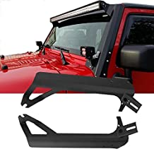 "TURBO SII 50""Inch 288W Straight Off Road LED Light Bar Work Lamp Mounts Upper Windshield Mounting Brackets for 1999-2006 Jeep TJ Wrangler"