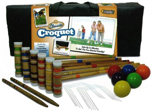 Driveway Games Portable Croquet Set. Wood Mallets, Balls, &