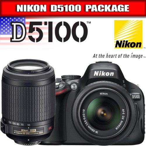 Nikon D5100 Digital SLR Camera & 18-55mm G VR DX Lens & 55-200mm VR Zoom Lens
