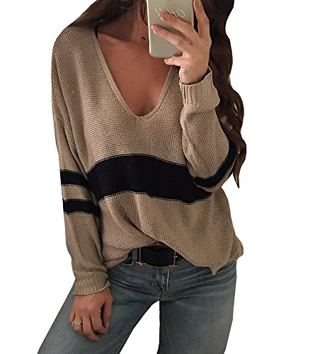 Imily Bela Women's Waffle Knitted Color Block V Neck Long Sleeve Pullover Sweater Tops
