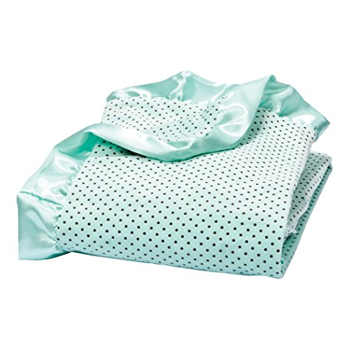 Pink Velour Receiving Blanket - Trend Lab Soft Mint Delightful Dot Velour and Satin Receiving Blanket