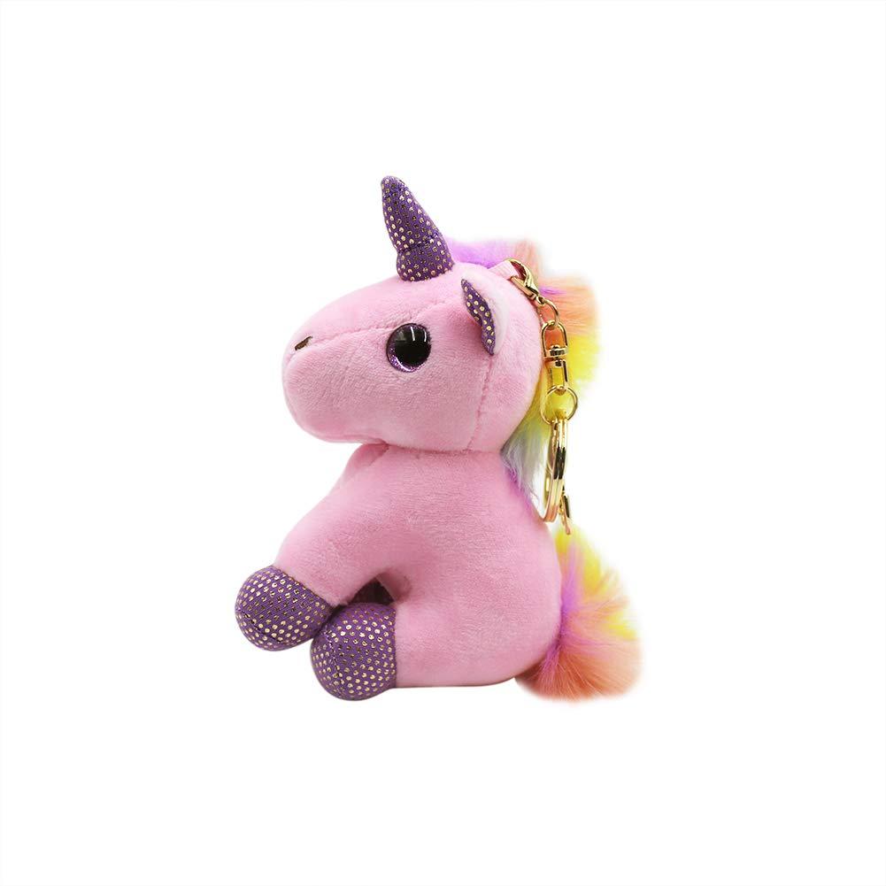 Amazon.com: Llavero con diseño de unicornio de felpa con ...