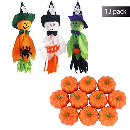 - 3 Set Of Halloween Ghost Windsock Hanging Scarecrow Doll Pendant Ghost For House, Yard, Hotel with Pack of 10 Artificial Lifelike Simulation Mini Pumpkins for Halloween Home Decoration(13 Pack)