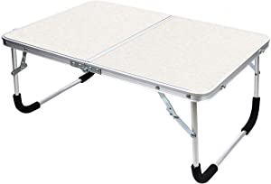 YOLER Laptop Table for Bed, Lap Desks Bed Trays for Eating, Computer Tray for Bed, Bed Desk for Laptop and Writing, Portable Folding Aluminum Camp Table with Carry Handle 24''x 16''x 11'' (White)
